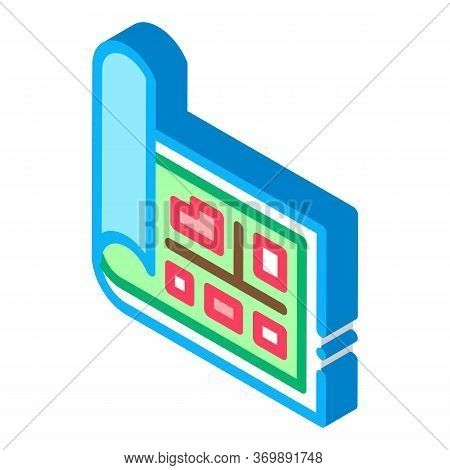 Topography Electronic Tool Icon Vector. Isometric Measuring Equipment For Research Landscape, Engine