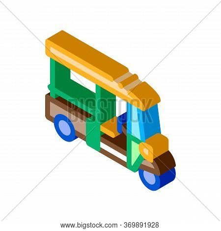 Tuk Tuk Thailand Transport Icon Vector. Isometric Tuk Tuk Taxi, National Typical Public Cab Scooter