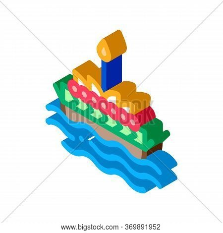 Boat Filled Flowers Thailand Icon Vector. Isometric Flowers On Water, Thai Aromatic Bouquet, Ceremon