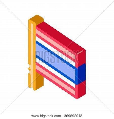 Thailand Flag On Flagstaff Icon Vector. Isometric National Country Thailand Flag, Patriotic Thai Sym