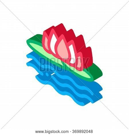 Lotus Nation Thailand Flower Icon Vector. Isometric Flower On Sea Or Lake Water, Thai Aromatic Plant