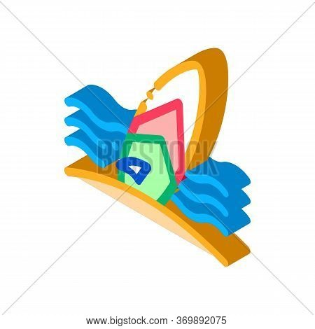 Surfing Board On Seaside Icon Vector. Isometric Thailand Tourist Activity Surfing Equipment On Beach