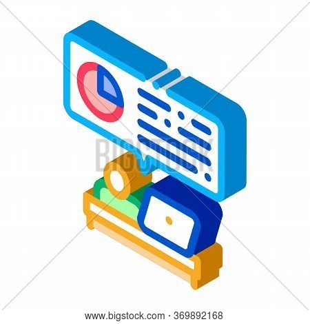 Statistician Assistant Work Icon Vector. Isometric Manager Analytic Working With Laptop, Office Work