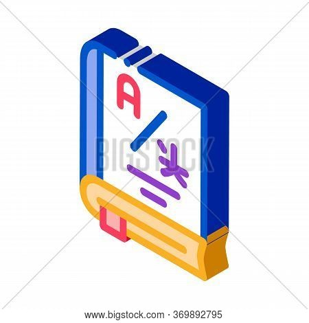 Dictionary Or Education Book Icon Vector. Isometric Research Dictionary For Education And Study Fore