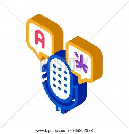 Microphone Voice Device Icon Vector. Isometric Microphone Interpreter And Alphabet Letters In Quote