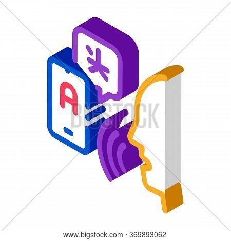 Voice Interpreter Translator Icon Vector. Isometric Human Speaking And Smartphone Interpreter Transl