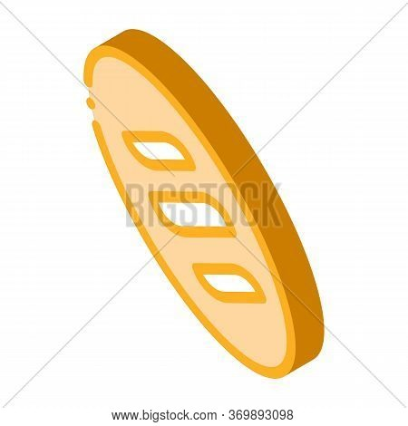 Bread Long Loaf Baked Food Icon Vector. Isometric Nutritious Organic Bio Crust Bread Sign. Color Iso