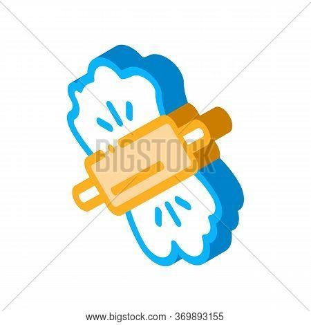 Dough And Wooden Rolling Pin Icon Vector. Isometric Wood Material Rolling Pin Kitchenware Sign. Colo