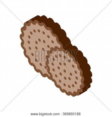 Cookies Breakfast Snack Icon Vector. Isometric Round Crispy Bakery Cookies Calorie Crunchy Dessert S