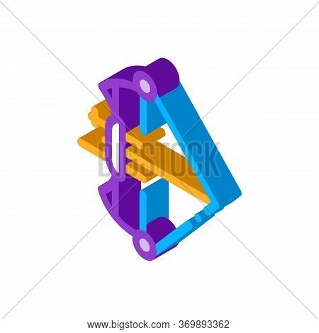 Professional Bow And Arrow Icon Vector. Isometric Olympic Sportive Tool Bow For Precision Hit Concep