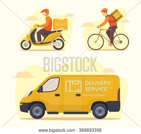 Delivery Service Transportation Set Courier Riding Motorcycle Bicycle Car Van Shipping Parcel Packag