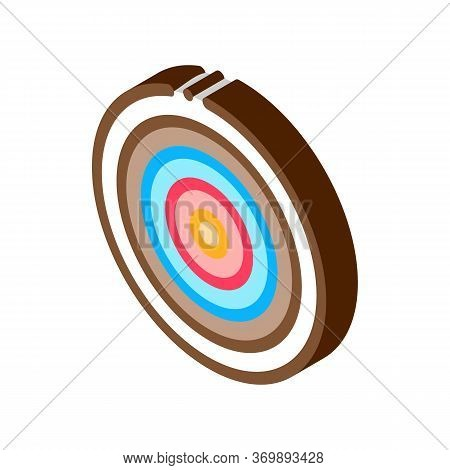 Target Archery Equipment Icon Vector. Isometric Circle Shot Target Wood Board Sportive Tools Sign. C