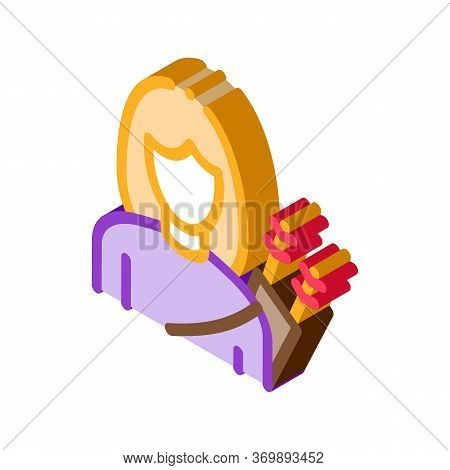 Archer Woman Silhouette Icon Vector. Isometric Girl Archer Athlete With Arrows Tool In Bag Behind Ba
