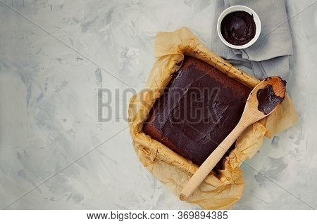 Homemade Square Delicious Healthy Vegan Moist Dark Chocolate Brownies Dessert Or Sponge Cake With Co