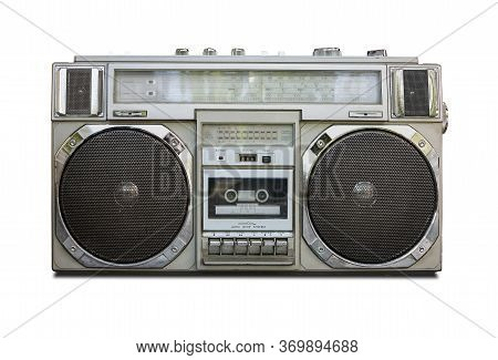 Vintage Radio Cassette Recorder Boombox Isolated On White Background