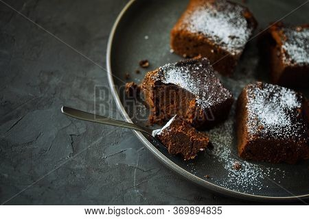 Delicious Healthy Vegan Moist Dairy-free Dark Chocolate Brownies Dessert Or Square Sponge Cakes Cook