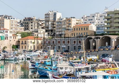 Yachts And Ferry Boat In The Port Of Heraklion. Panoramic And Top View. Island Of Crete, Greece