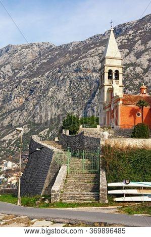Winter Mediterranean Landscape. Montenegro, View Of Dobrota Town. Baroque Catholic Church Of St. Mat