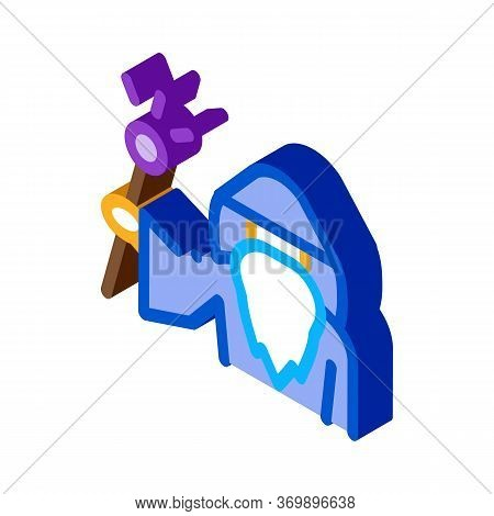 Wizard Hold Wand Icon Vector. Isometric Wizard Hold Wand Sign. Color Isolated Symbol Illustration