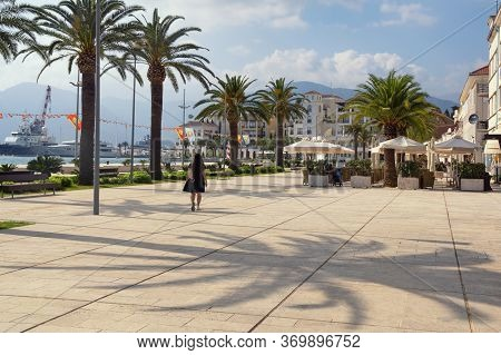 Tivat / Montenegro. May 20 2020 : View Of Embankment Of Tivat City After Weakening Of Quarantine Cov