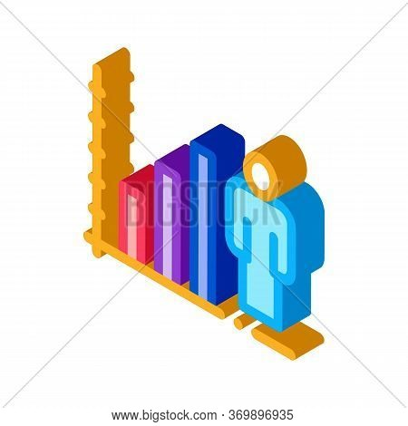Man Rising Rates Icon Vector. Isometric Man Rising Rates Sign. Color Isolated Symbol Illustration