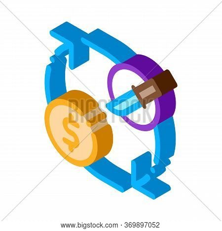 Knife Selling Icon Vector. Isometric Knife Selling Sign. Color Isolated Symbol Illustration