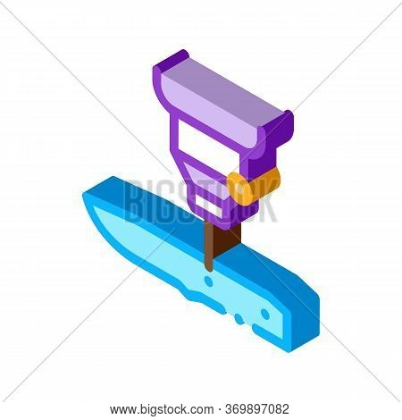 Knife Production Icon Vector. Isometric Knife Production Sign. Color Isolated Symbol Illustration