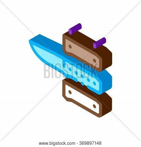 Knife Handle Icon Vector. Isometric Knife Handle Sign. Color Isolated Symbol Illustration