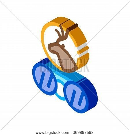 Deer Binoculars Icon Vector. Isometric Deer Binoculars Sign. Color Isolated Symbol Illustration
