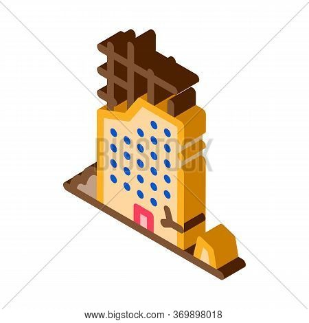 Ruined Building Icon Vector. Isometric Ruined Building Sign. Color Isolated Symbol Illustration