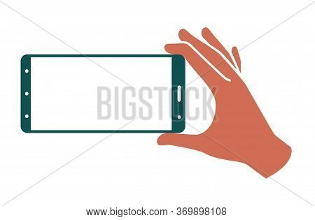 Hand Holds Smartphone In Horizontal Position On A White Background. Template