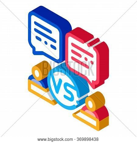 Discussion Battle Icon Vector. Isometric Discussion Battle Sign. Color Isolated Symbol Illustration