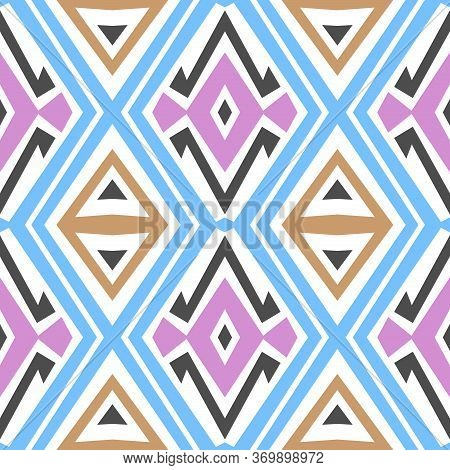 Seamless Line Art Pattern For Textile Design, Wrapping Papers, Abstract Fancy Colored Background. Co
