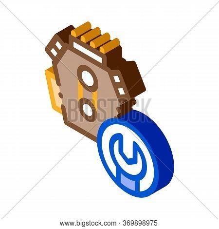 Engine Repair Icon Vector. Isometric Engine Repair Sign. Color Isolated Symbol Illustration