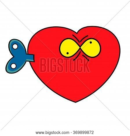 Heart Crazy Cartoon Character. Vector Illustration Of A Red Mechanical Heart With A Key.