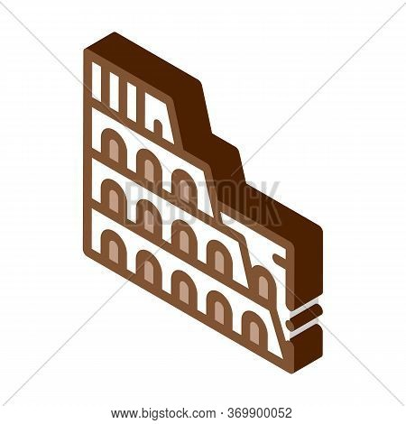 Coliseum Building Icon Vector. Isometric Coliseum Building Sign. Color Isolated Symbol Illustration