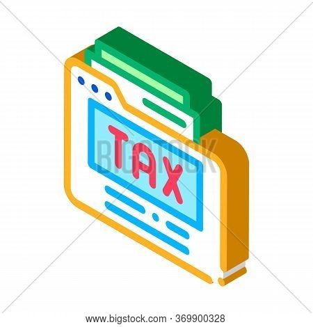 Tax Archive Icon Vector. Isometric Tax Archive Sign. Color Isolated Symbol Illustration