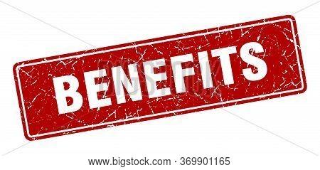 Benefits Stamp. Benefits Vintage Red Label. Sign