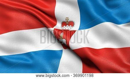 Flag of Perm Krai waving in the wind. 3D illustration.