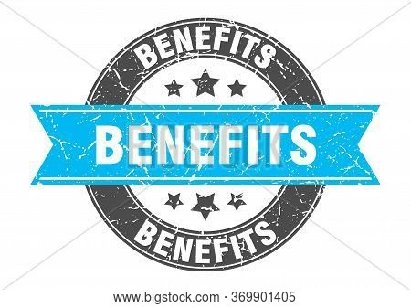 Benefits Round Stamp With Turquoise Ribbon. Benefits