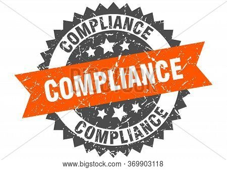 Compliance Grunge Stamp With Orange Band. Compliance