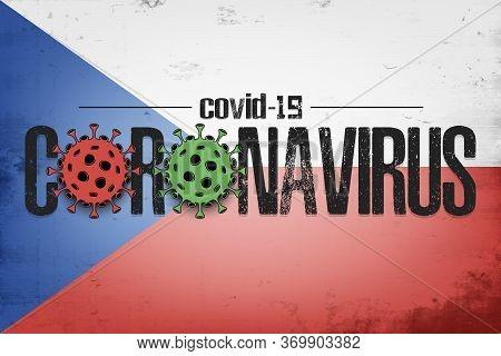 Flag Of Germany With Coronavirus Covid-19. Virus Cells Coronavirus Bacteriums Against Background Of