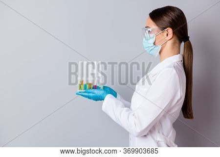 Profile Photo Of Virologist Doc Lady Experienced Professional Hold Test Tubes Examining Vaccine Prob