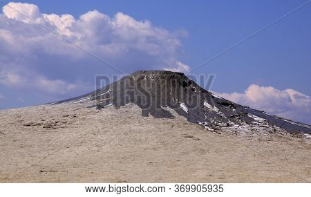 Paclele Mari Mud Volcano In Buzau, Romania. The Berca Mud Volcanoes Is A Geological And Botanical Re