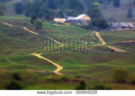 Tilt-shift Effect Photography Of Scenic Pathways And Hills In Southern Ukraine Countryside