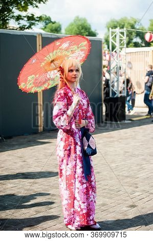 Russia, Moscow-july 21, 2019: Japanese Culture Festival J-fest, Cosplay Girl With A Japanese Outfit