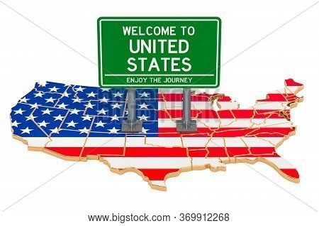 Billboard Welcome To The Usa On American Map, 3d Rendering Isolated On White Background