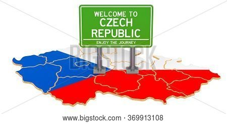 Billboard Welcome To Czech Republic On Czech Republic Map, 3d Rendering Isolated On White Background