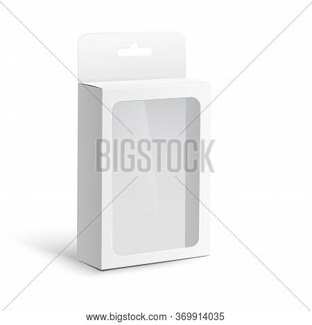 Template Of Box With Hang Tab And Window Realistic Vector Illustration Isolated.