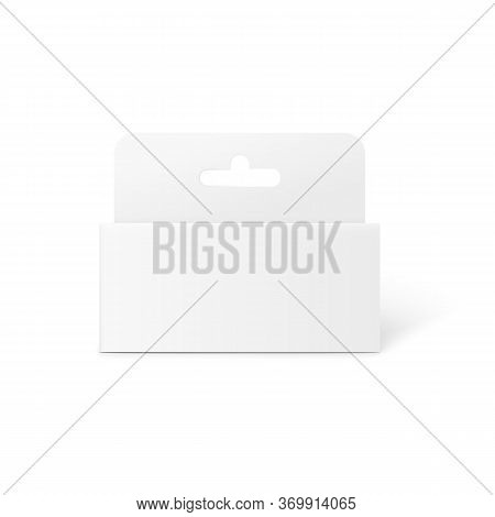 Blank White Box Tab Package Mockup From Front View